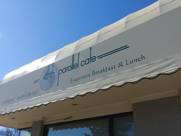 45th Parallel Cafe - the perfect place for a muffin after a ride on the Leelanau Trail from TC