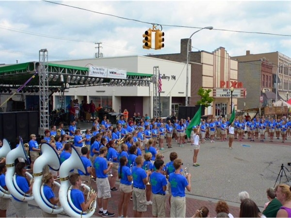 Lapeers Lightning Marching Band performing at Lapeer Days