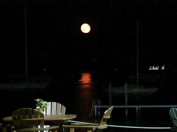 The moon over West Grand Traverse Bay.