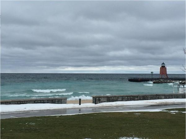 Depot Beach on Lake Michigan during January.  Raw beauty