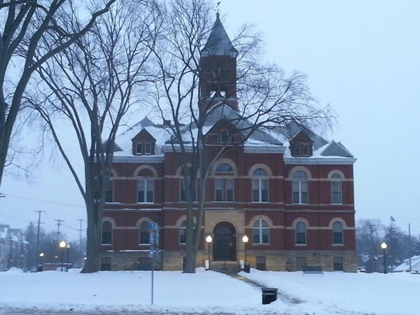 Original court house in downtown Howell on a beautiful snowy evening