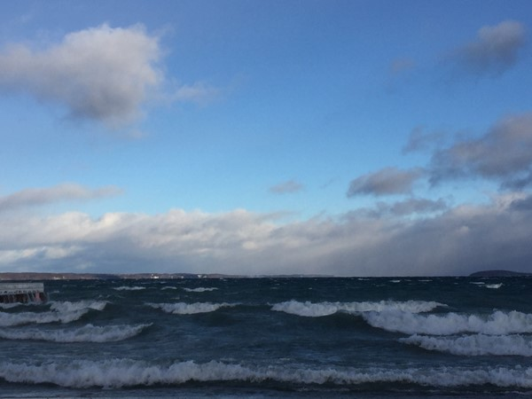 The waves are rolling on West Bay