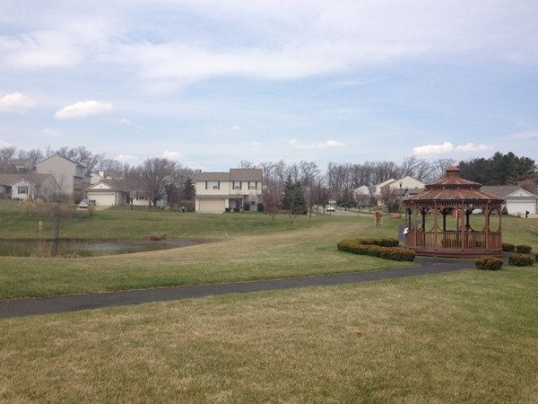 Millpointe has beautiful paved walkways, pond and gazebo in the common area for residents to enjoy