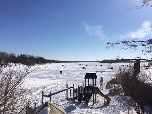 Gorgeous Lake Fenton on Free Ice Fishing Weekend in February 2014