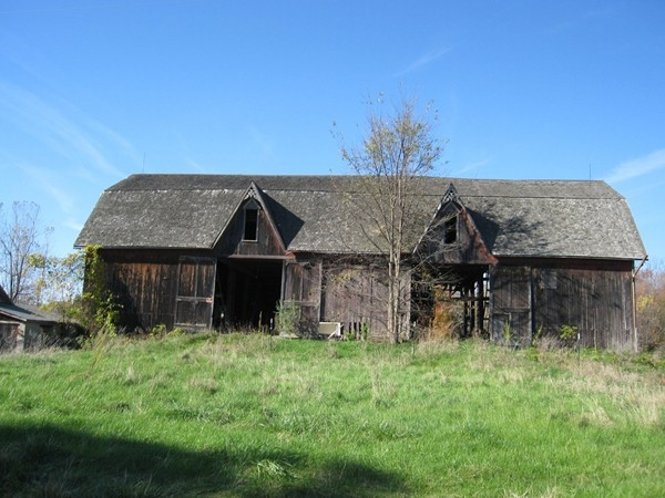 An old barn sits as a reminder of a bustling farm that once thrived in Goodrich