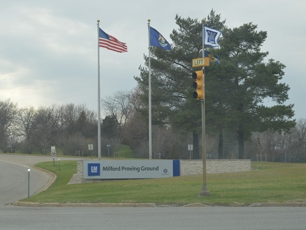 GM Milford Proving Grounds. Place of employment for many in the area, supports community