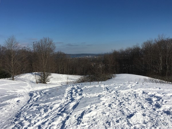 Snowshoe the trails at Grand Traverse Commons for fantastic views