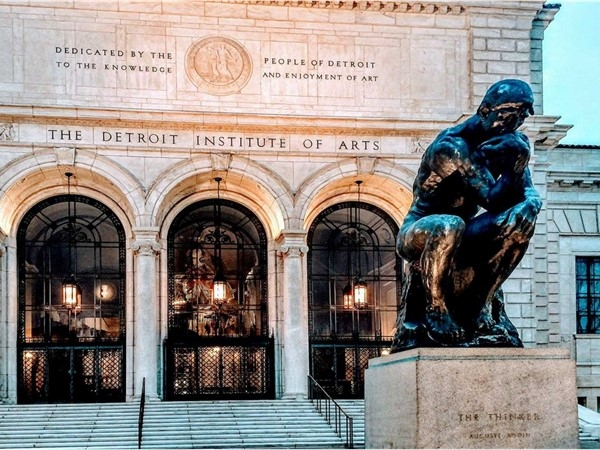 """The Thinker"" sculpture located outside of Detroit Institute of Arts"
