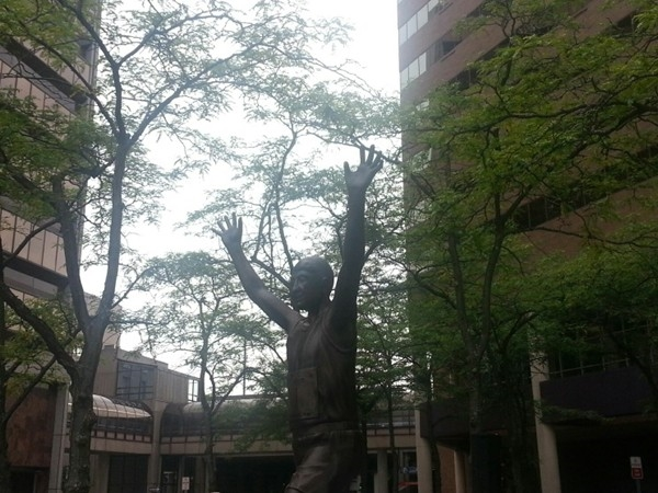 The unveiling ceremony of the Bobby Crim statue in Downtown Flint