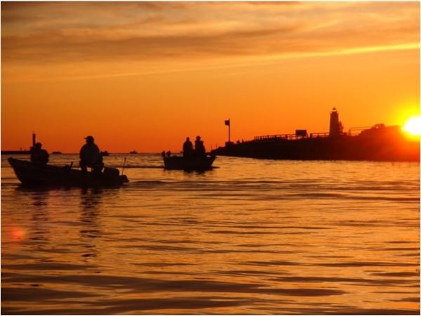 Fishermen at sunset, Betsie Bay, Frankfort