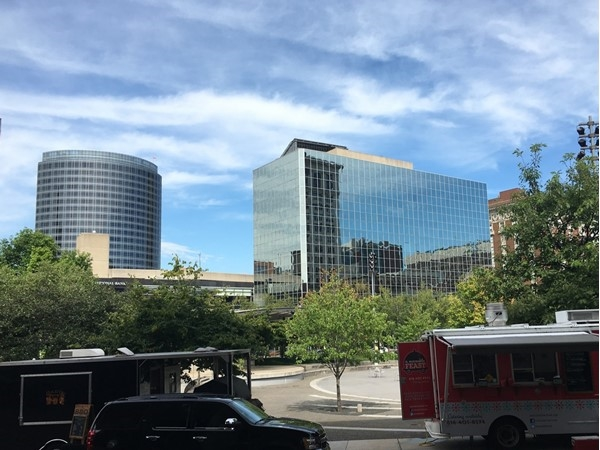 Food trucks line Rosa Parks Circle daily during downtown lunchtime! Musicians are usually there