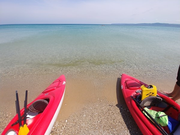 It's a beautiful day to kayak the Lake Michigan shoreline along the Glen Haven beach