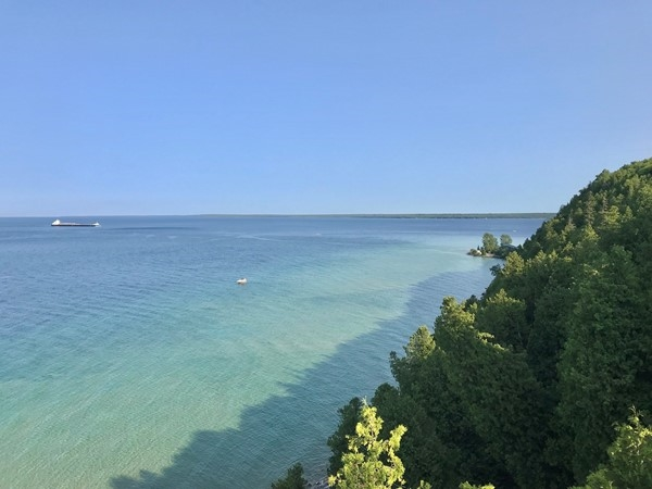 Beautiful view from the Arch Rock viewing area. Freighters, boats, views, oh my
