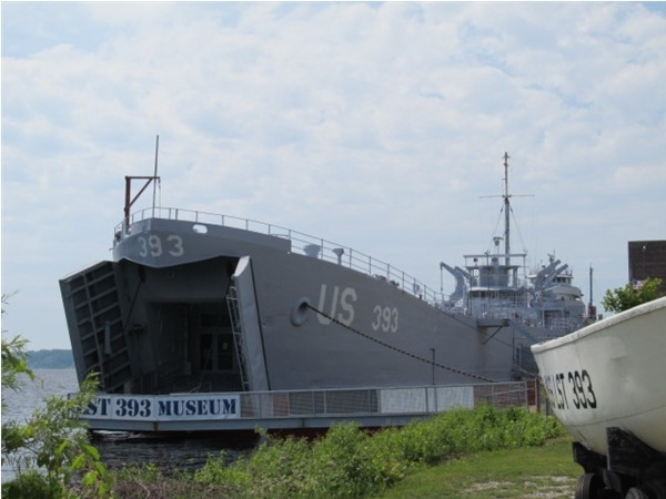 USS LST 393 Veterans Museum at Mart Dock next to Heritage Landing Park in downtown Muskegon