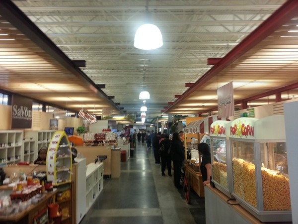 Indoor shops and booths at the New Farmers' Market, Downtown Flint