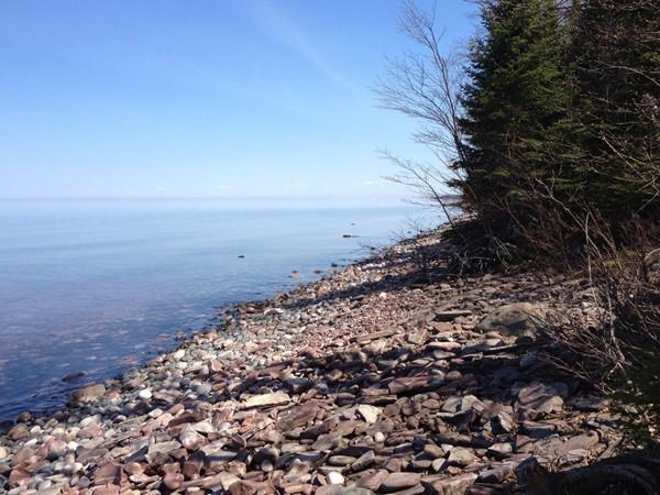 Cobblestone shoreline of pristine Lake Superior