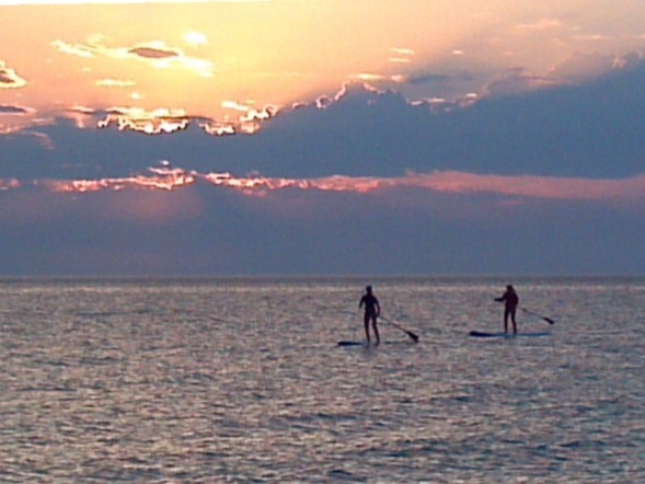 Paddle boarders at Empire beach.