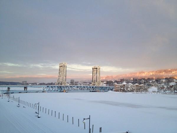 Beautiful winter scene of the Portage Lake Lift Bridge between Houghton and Hancock