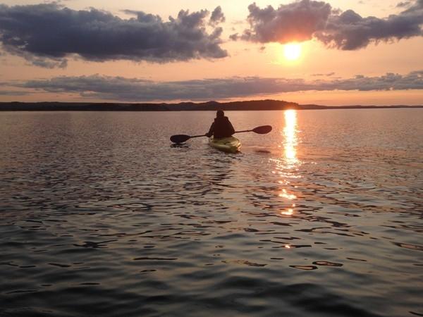 Sunset kayaking at Black Rocks, Presque Isle Park