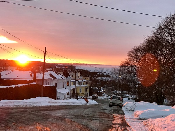 A winter sunset viewed from Rose Street near the Petoskey Winter Sports Park