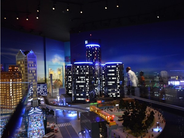 Lego Land at Great Lakes Crossing, the GM building and Detroit bright lights at night