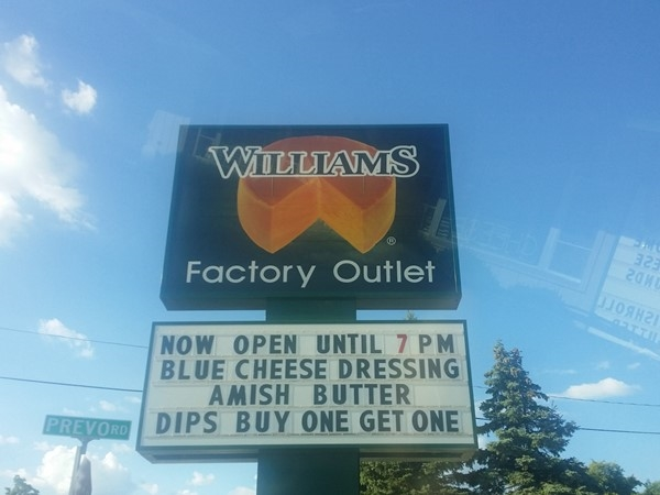 Williams Cheese Factory for unique, local food items