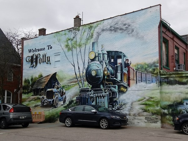 Beautiful new mural across from Holly Hotel....it speaks to Holly's history