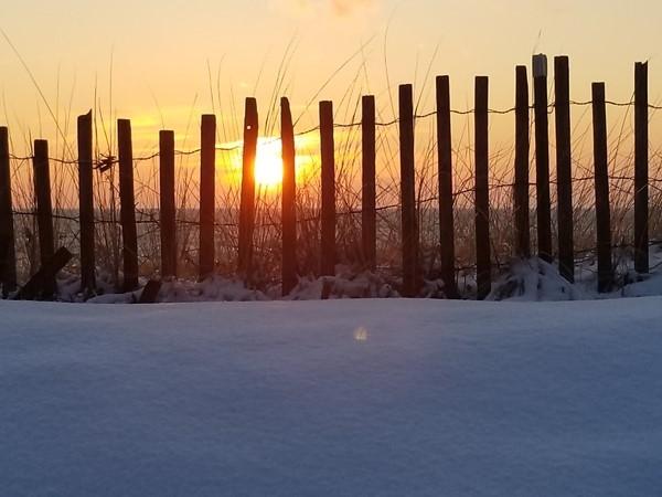 Winter sunset over Lake Michigan