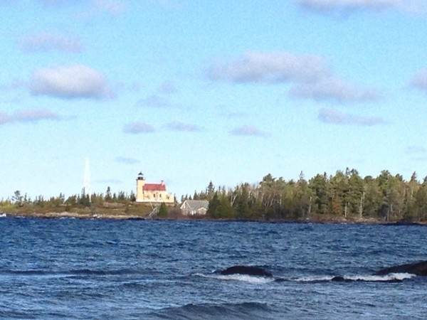 Lighthouse viewed from the shore of Lake Superior, Copper Harbor