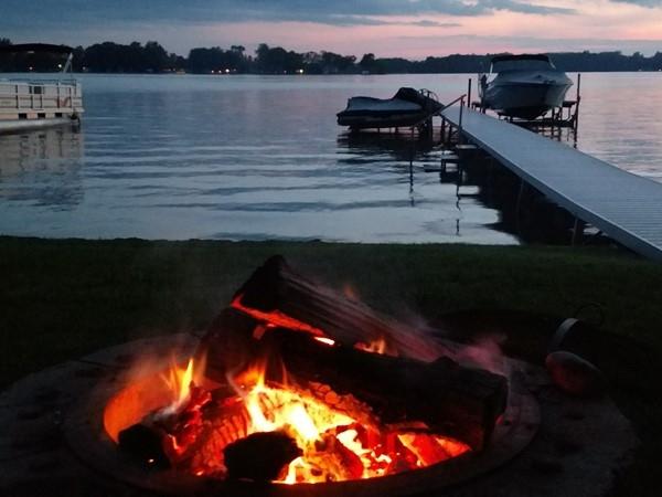 Sunset bonfire on Gun Lake