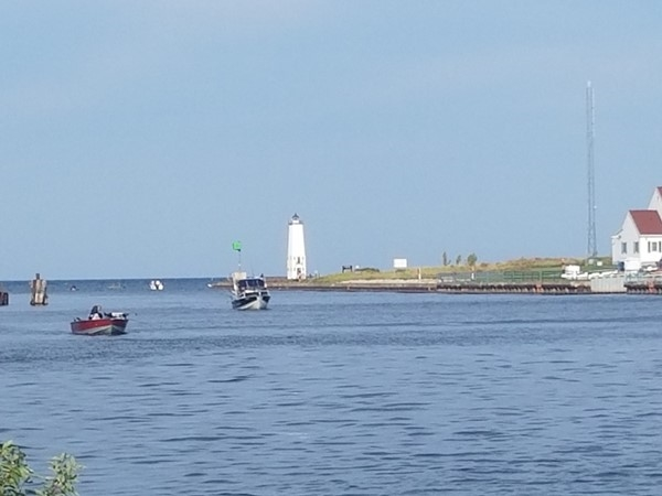 View of lighthouse and Betsie Bay from Elberta's Waterfront Park