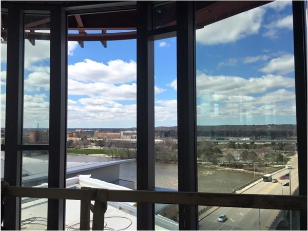 """The view from the top floor of the new """"The Rowe"""" apartments/condos in Downtown Grand Rapids!"""