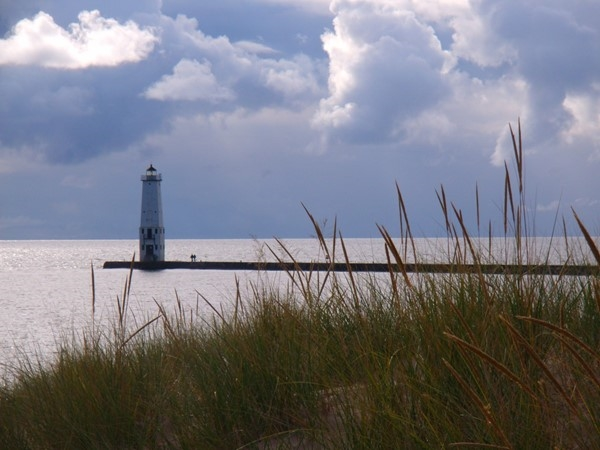 Frankfort Lighthouse and stormy skies