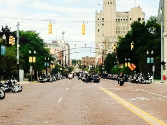 Bikes fill the street all the way down to the river