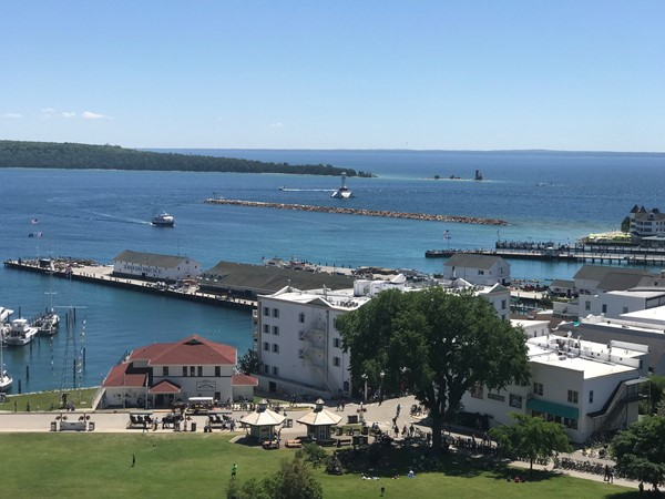 A view of the ferry landing area from on the hill at Fort Mackinac on Mackinac Island