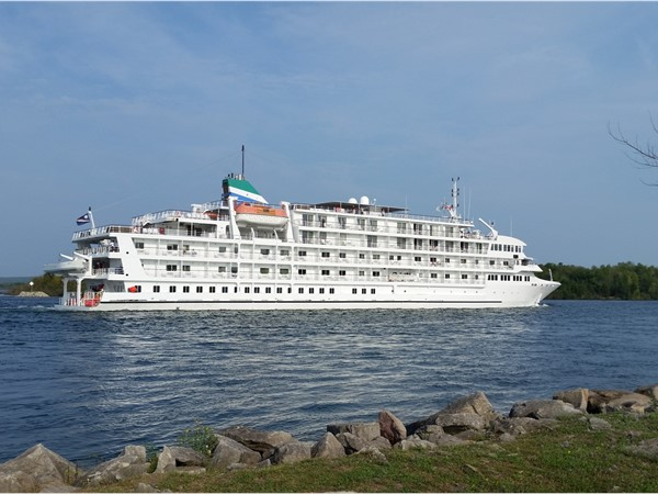 Great Lakes cruise ship on the St. Mary's River by Sugar Island and Sault Ste. Marie
