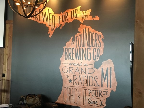 Check out this great image in the private Centennial Room upstairs in Founders Brewing Company!