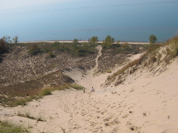 View from atop the large sand dune in Grand Mere State Park