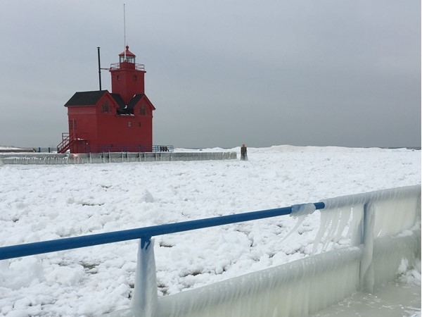 Big Red Lighthouse is a landmark at the Holland State Park