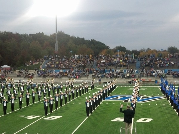 Rockford High School Band marching at Grand Valley State University