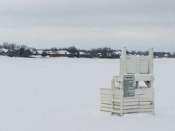Snow covered Silver Lake Park Beach