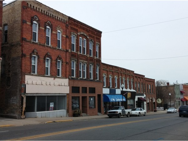 Historic brick buildings line downtown Vassar, MI