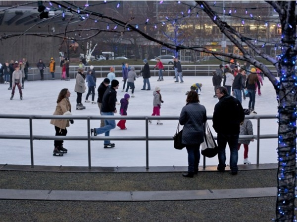 Enjoy winter while ice skating at Rosa Park Circle. Downtown Grand Rapids, minutes from Walker