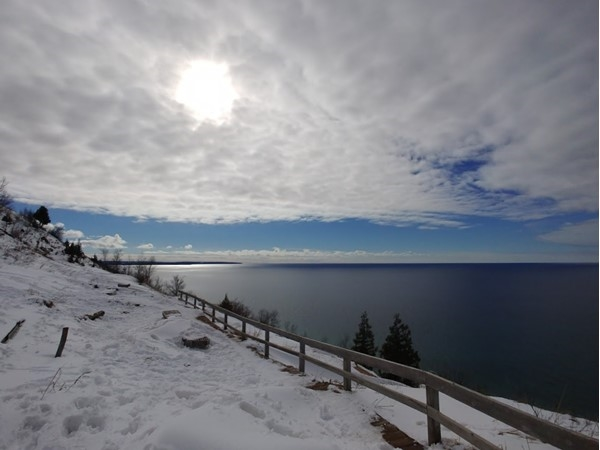 Love the view and hike at Empire Bluffs on a snowy March day