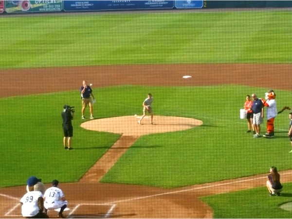 Our agent's grandson threw out the first pitch