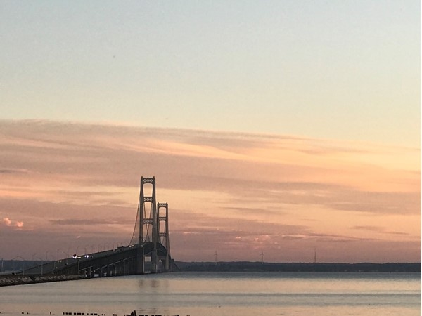 Breathtaking view of the Mackinac Bridge connecting the lower and upper peninsulas in Michigan