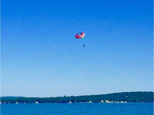 Be a tourist in your own town! Loving the Bay Life! East Grand Traverse Bay parasailing