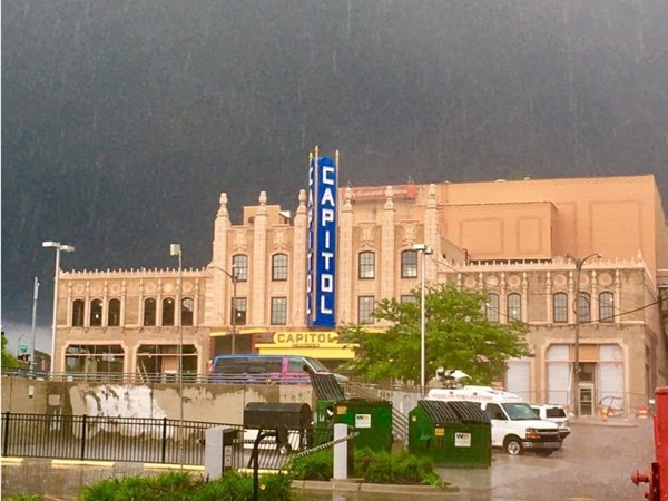 The Capitol Theatre during a rain storm