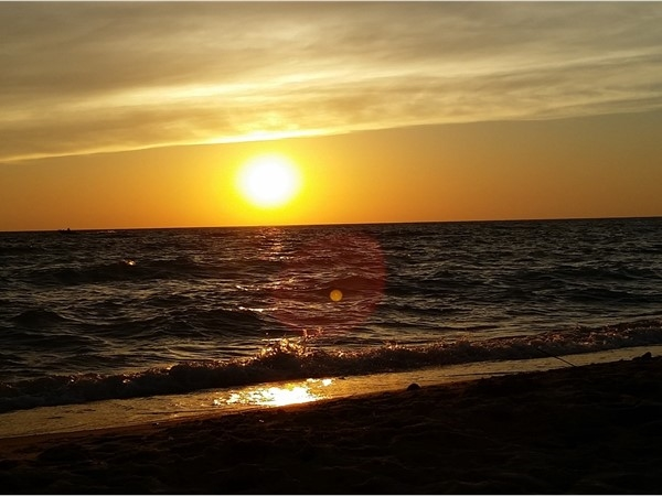 Sun setting over Lake Michigan