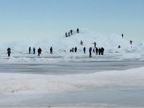 Exploring the blue ice at the Mackinac Bridge